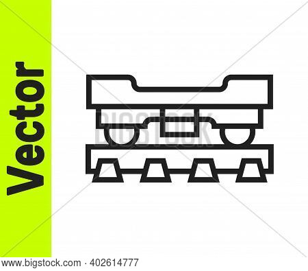 Black Line Cargo Train Wagon Icon Isolated On White Background. Freight Car. Railroad Transportation