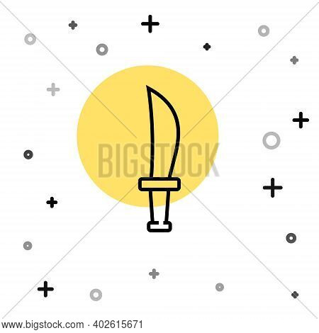 Black Line Pirate Sword Icon Isolated On White Background. Sabre Sign. Random Dynamic Shapes. Vector