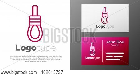 Logotype Line Gallows Rope Loop Hanging Icon Isolated On White Background. Rope Tied Into Noose. Sui