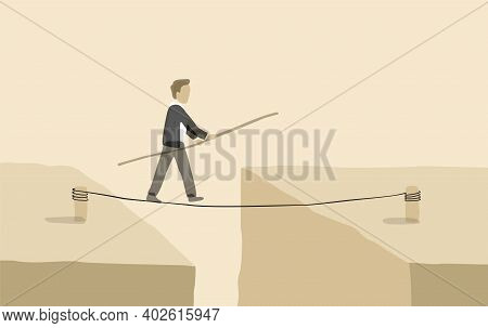 Business Risk And Professional Strategy Concept - Abstract Businessman Walks Over Gap As Tightrope W