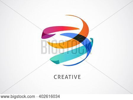 Creative, Digital Abstract Colorful Icon, Element And Symbol, World Logo Template