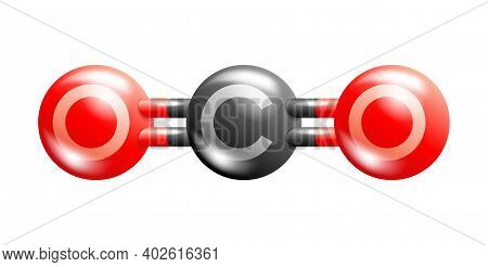 Co2 Carbon Dioxide Molecule In Glossy And 3d Style. Vector Illustration
