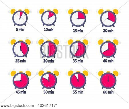 Minutes Countdown On Analog Clock Face Flat Style Design Vector Illustration Icon Sign Set Isolated