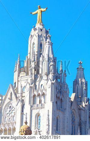 Jesus On The Church Top . Church Of The Sacred Heart Of Jesus In Barcelona .  Roman Catholic Church