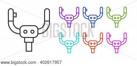 Black Line Aircraft Steering Helm Icon Isolated On White Background. Aircraft Control Wheel. Set Ico