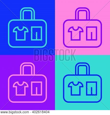 Pop Art Line Suitcase For Travel Icon Isolated On Color Background. Traveling Baggage Sign. Travel L