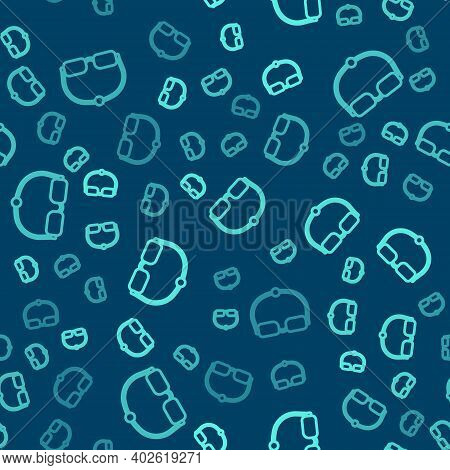 Green Line Eyeglasses Icon Isolated Seamless Pattern On Blue Background. Vector