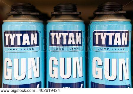 Tyumen, Russia-december 09, 2020: Mounting Foam Titanium Logo. Tytan Professional. Construction Repa