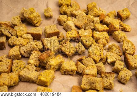 Homemade Crusty Bread With Croutons. Fast Food Bread Background, Top View.