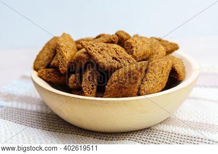 Croutons, Breadcrumbs Bavarian Soup Garnish Specialty. Bread Balls Food Photo