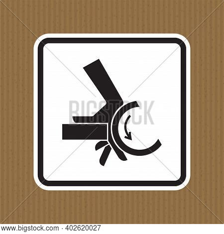 Hand Crush Roller Pinch Point Symbol Sign Isolate On White Background,vector Illustration