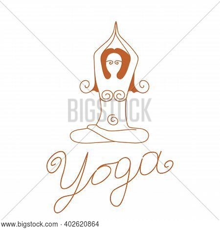 Black Linear Drawing Of A Female Silhouette Seated In A Lotus Position. Vector Freehand Drawing On A