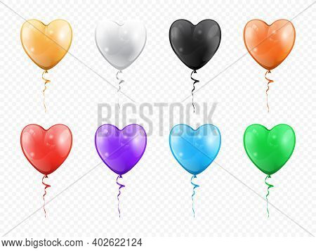 Balloons In Shape Of Heart Isolated Set. Golden, Black White, Red Purple, Green Blue Heart-shape Hel