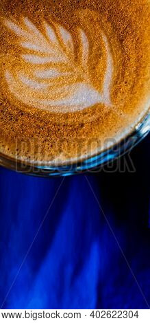 Latte Art On The Top Froth Of The Flat White Coffee