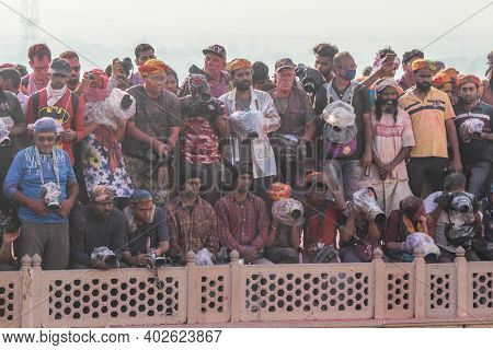 Mathura, Uttar Pradesh/ India- January 6 2020: Group Of Cameraman, Foreigners Photographers Crowded