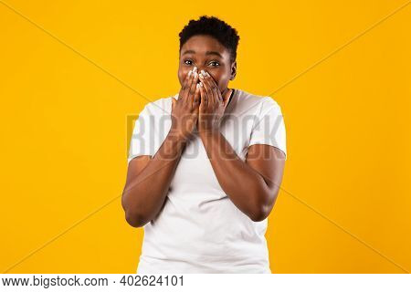Lol. Plus Size African American Lady Laughing Covering Mouth With Hands Posing Looking At Camera Sta