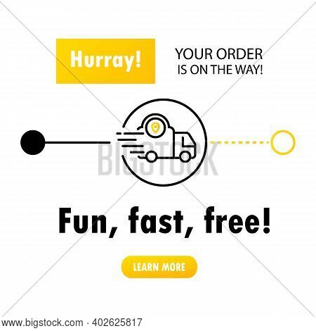 Fast Delivery From Store To Home. Fun, Fast, Free Delivery. Service Icons. Digital Online. Delivery