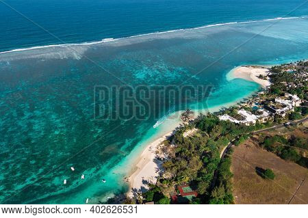View From The Height Of The East Coast Of The Island Of Mauritius. Flying Over The Turquoise Lagoon