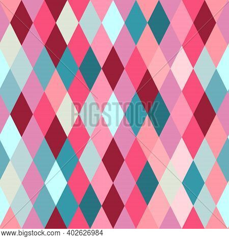Seamless Lozenge Pattern Of Red, Pink, Blue Colors. Rhombus Repeating Background For Wrapping Paper,