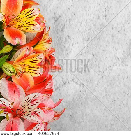 Layout For A Greeting Card. A Bouquet Of Beautiful Multicolored Orchids On A Light Background. Mocap