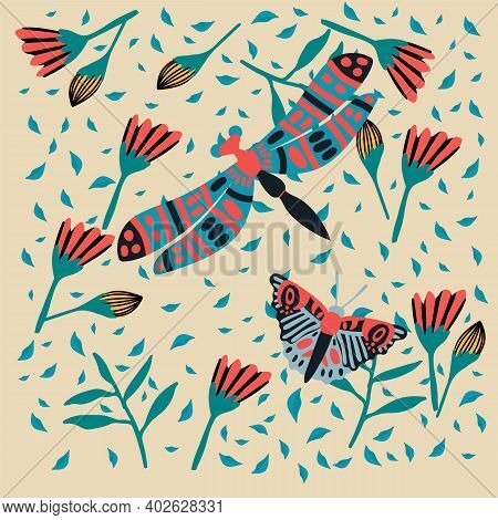 Illustration Of A Dragonfly In The Grass. Cute Butterfly In The Tropics Of The Forest. Postcard Soar