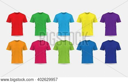 Realistic Vector T-shirt Flesh Color Front View Blank Mockup Collection Set Grey Background Illustra