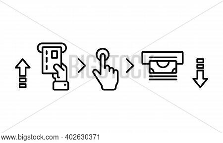 Atm Cash Machine. Credit Card Inserted In Card Reader. Money Icon. Banking. Payment Terminal. Insert