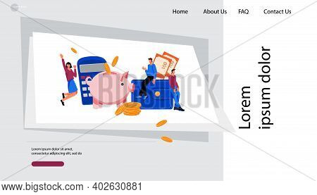 Website Banner Mockup For Saving Money And Lending Financial Services With Business People Character