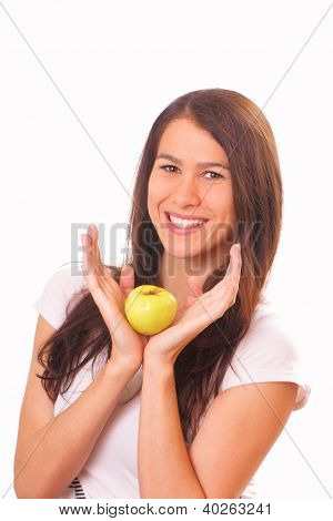 Attractive Young Woman With An Apple