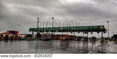 Perambalur , Tamil Nadu, India - December 4th 2020: Busy Fastag Highway Toll Gate Checkpoint On Mons