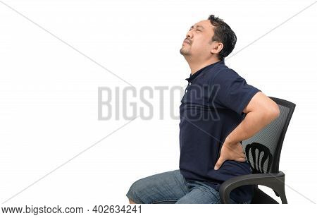 Middle Aged Man Suffering From Backache Isolated On White Background, Lower Back Pain And Health Car