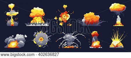 Bomb And Fire Explosion Isolated Cartoon Set. Vector Realistic Fiery Boom, Danger Explosive Bombs, D