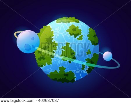 Fantasy Planet Looks Like Earth With Vegetation And Water Masses. Celestial Body With Satellite And