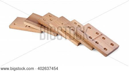 Fallen Wooden Domino Tiles With Pips Isolated On White