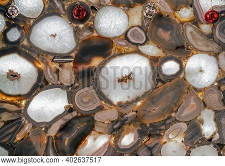 Gray Agate In Cutaway With Internal Illumination. Background And Texture Of Natural Agate.