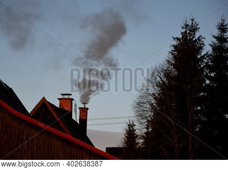 Air Pollution With Solid Fuels, Coal, Coke, Wood, Pollen, Briquettes. They Can Pollute The Smell Of