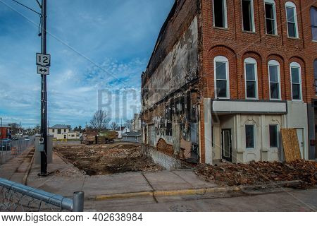 Columbus Grove, Oh, December 23, 2020, Empty Vacant Lot From Where Vintage Victorian Era Store Front