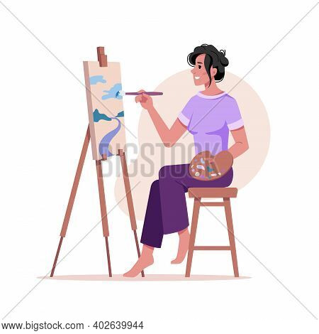 Artist Paints Picture At Easel Isolated Woman With Brush Drawing On Tripod At Paper Isolated Flat Ca