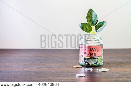 A Glass Jar Full Of Coins And A Plant Growing Through It. Concept Image Showing Investing In Mutual