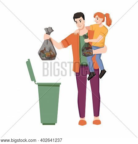 Father And Daughter Throw Garbage In Trash Can Isolated Flat Cartoon Characters. Vector Clean Enviro