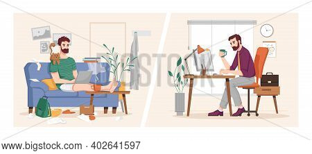 Man Working At Computer In Office And At Home, Vs Flat Cartoon Illustration. Vector Businessman At W
