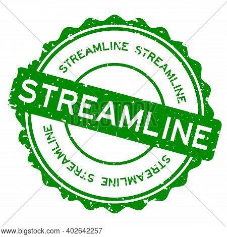 Grunge Green Streamline Word Round Rubber Seal Stamp On White Background