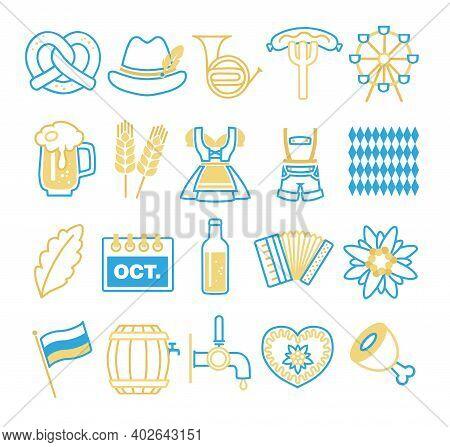 Vector Icons Set For Creating Infographics Related To German Oktoberfest, Like Dirndl, Beer Mug, Pre