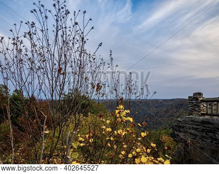 Coopers Rock Overlook In Coopers Rock State Forest In West Virginia In The Fall Right Before Sunset