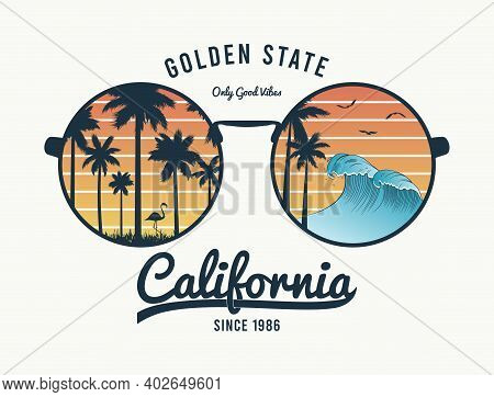 California T-shirt Design With Color Sunglasses With Palm Trees Silhouette, Flamingo And Waves. Sun