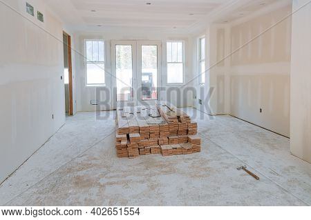 Process For Under Construction, Preparation For House Renovation Construction In A Renovated Room In