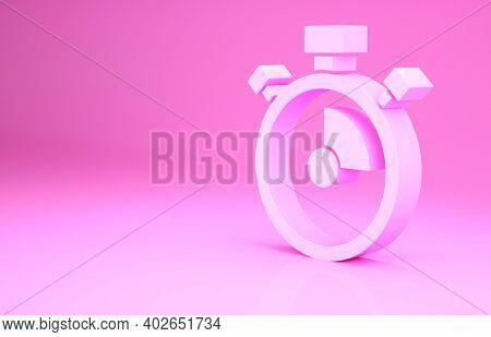 Pink Stopwatch Icon Isolated On Pink Background. Time Timer Sign. Chronometer Sign. Minimalism Conce