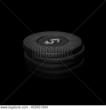 Digital 3d Poker Chips Stack On Black Background. Online Gambling And Virtual Casino Games. Stock Ex