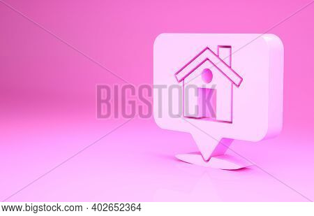 Pink Map Pointer With House Icon Isolated On Pink Background. Home Location Marker Symbol. Minimalis
