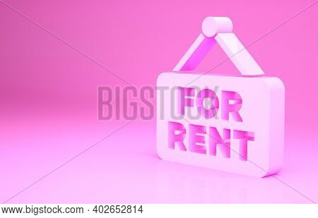 Pink Hanging Sign With Text For Rent Icon Isolated On Pink Background. Signboard With Text For Rent.